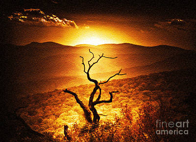 Sundown In The Mountains Art Print