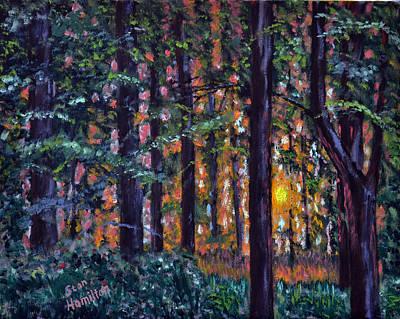 Painting - Sundown In Woods by Stan Hamilton
