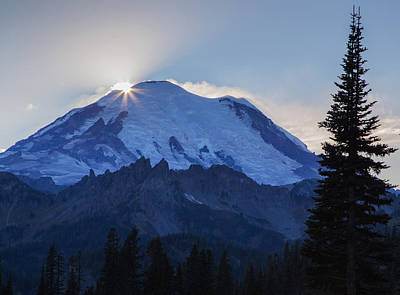 Photograph - Sundown On Mt. Rainier by Angie Vogel