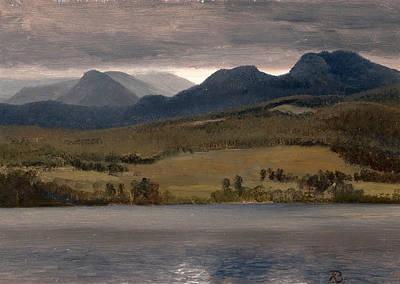 Sundown On The Lake.thought To Be Lake Tahoe Art Print by Albert Bierstadt