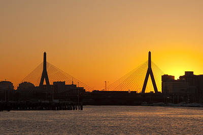 Zakim Bridge Photograph - Sundown Over The Leonard P Zakim Bridge - Boston by Joann Vitali