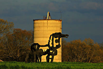 Photograph - Historic Silo And The Iron Horse Sundown  by Reid Callaway