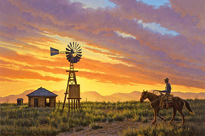 Windmills Painting - Sundowner by Paul Krapf