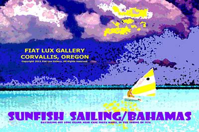 Sunfish Digital Art - Sunfish Sailing Bahamas by Michael Moore