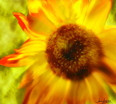 Art Print featuring the digital art Sunflower-a-blaze by Janie Johnson