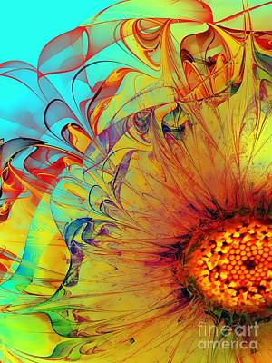 Digital Sunflower Digital Art - Sunflower Abstract by Klara Acel
