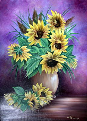 Popstar And Musician Paintings Royalty Free Images - Sunflower Royalty-Free Image by Adrian Muka