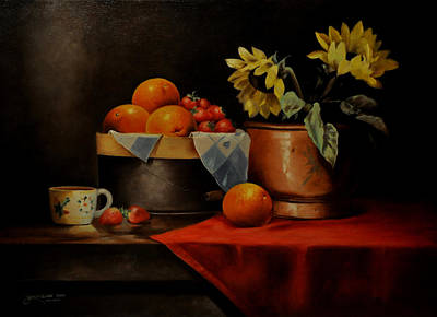 Sunflower And Fruits Art Print by Epifanio jr Mendoza