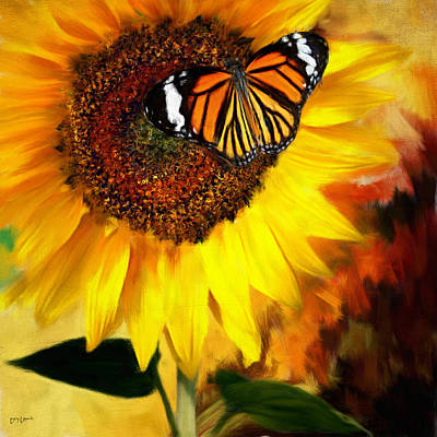 Sunflowers Royalty-Free and Rights-Managed Images - Sunflower And Butterfly Painting by Lourry Legarde