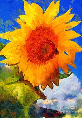 Painting - Sunflower - Bee Happy by Janine Riley