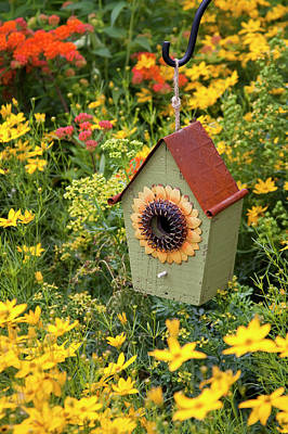 Sunflower Birdhouse In Garden Art Print by Richard and Susan Day