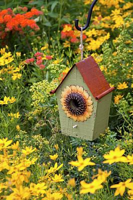 Butterfly Garden Photograph - Sunflower Birdhouse In Garden by Richard and Susan Day