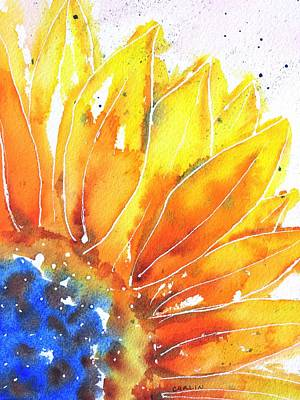 Flower Painting - Sunflower Blue Orange And Yellow by Carlin Blahnik
