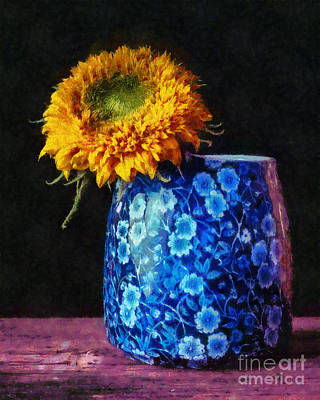 Sunflowers Photograph - Sunflower Blue  Pitchers by Edward Fielding