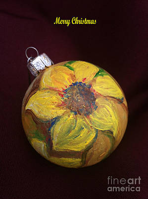 Home Painting - Sunflower Christmas Tree Ornament by MEA Fine Art