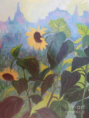 Painting - Sunflower City 1 by Gretchen Allen