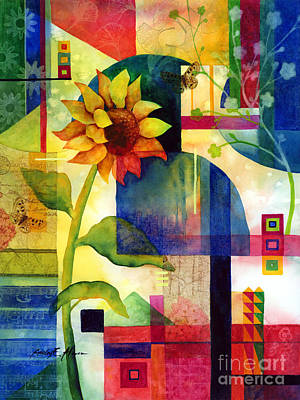 Macro Painting - Sunflower Collage by Hailey E Herrera