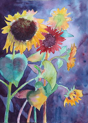 Art Print featuring the painting Sunflower Color by Nancy Jolley
