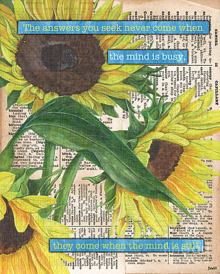 Poetry Painting - Sunflower Dictionary 1 by Debbie DeWitt
