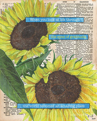 Poetry Painting - Sunflower Dictionary 2 by Debbie DeWitt