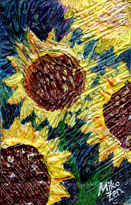Cardboard Mixed Media - Sunflower Engine by Art By Miko