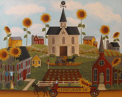 Sunflower Farms Art Print by Mary Charles
