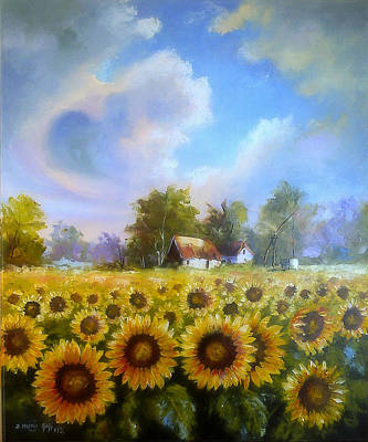 Painting - Sunflower Field by Dragan Ivkovic
