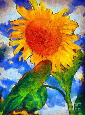 Painting - Sunflower - From Heaven Above by Janine Riley