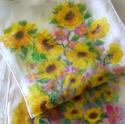 Painting - Sunflower Garden Design On Silk by Shan Ungar