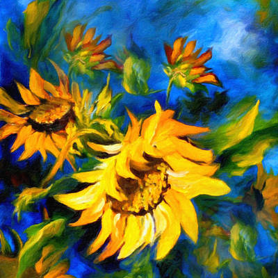 Sunflower Glory Art Print by Georgiana Romanovna