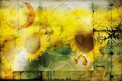 Sunflower Grunge Art Print by Kathy Churchman