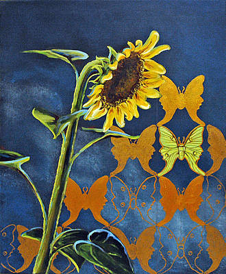 Painting - Sunflower In Moonlight by Suzanne McKee