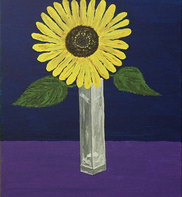 Painting - Sunflower In Square Vase by Daniel Nadeau