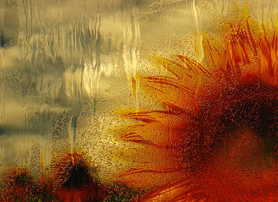 Captured Rain Painting - Sunflower In The Rain by Jack Zulli