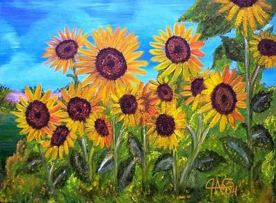 Art Print featuring the painting Sunflower Jungle by The GYPSY And DEBBIE