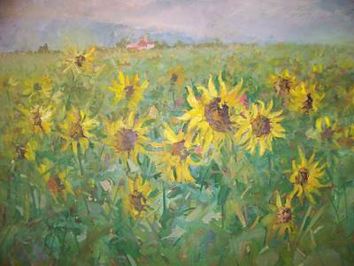 Painting - Sunflower Landscape by Bart DeCeglie