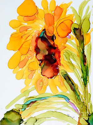 Painting - Sunflower Left Face by Vicki  Housel