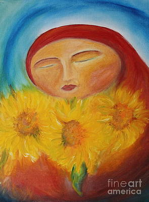 Sunflower Madonna Art Print by Teresa Hutto