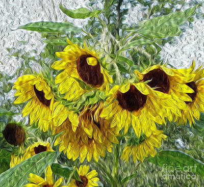 Mixed Media - Sunflower Morn II by Ecinja Art Works