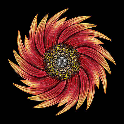 Sunflower Moulin Rouge Ix Flower Mandala Art Print by David J Bookbinder