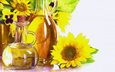 Sunflower Oil Art Print by Lanjee Chee