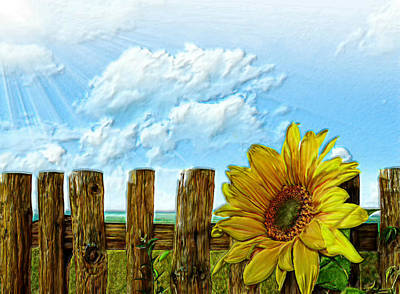 Digital Sunflower Painting - Sunflower On A Cool Autumn Day by Bruce Nutting