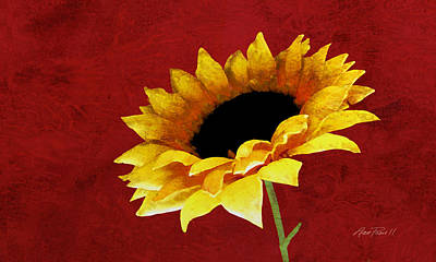 Digital Art - Sunflower On Red by Ann Powell