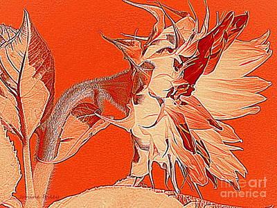 Sunflower - Orange Deco Burst Art Print by Janine Riley