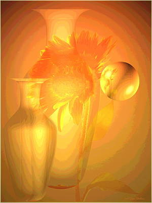 Sunflower Orange With Vases Posterized Art Print by Joyce Dickens