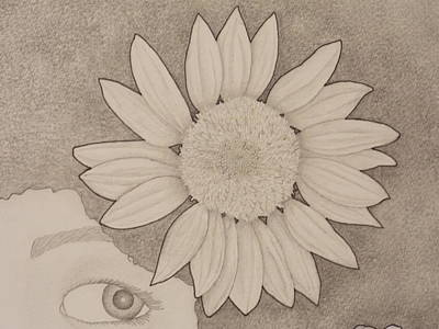 Drawing - Sunflower Peeping Eye by Aaron El-Amin