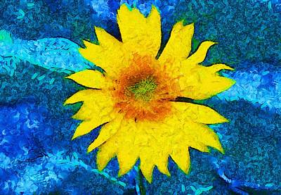 Sunflower Pop Abstract Art Print by Dan Sproul