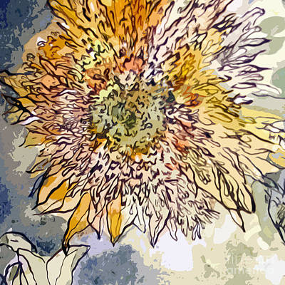 Painting - Sunflower Prickly Face by Ginette Callaway