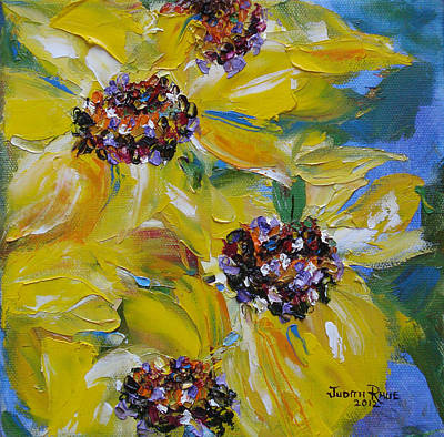 Painting - Sunflower Quartet by Judith Rhue