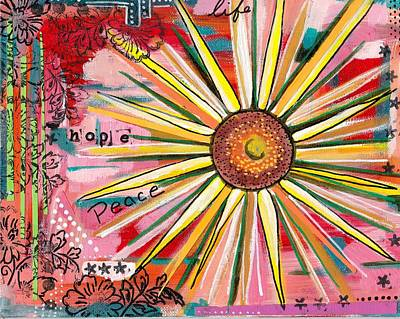 Abstract Collage Mixed Media - Sunflower  by Rosalina Bojadschijew